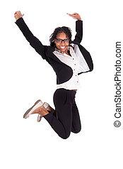 pojęcie, powodzenie, handlowy, młody, amerykańska kobieta, afrykanin, skokowy