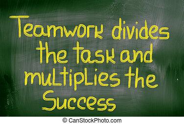 pojęcie, powodzenie, zadanie, teamwork, multiplies, dzieli