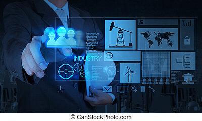 pojęcie, pracujący, nowoczesny, biznesmen, technologia, inżynier