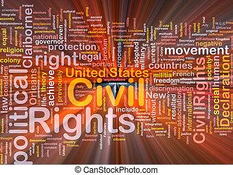 pojęcie, prawa, obywatelski, wordcloud, ilustracja, jarzący...