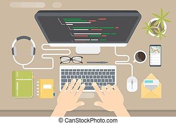 pojęcie, programowanie, illustration.