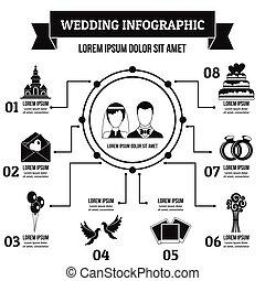 pojęcie, prosty, styl, infographic, ślub