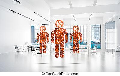 pojęcie, przedstawiony, współudział, trzy, mechanizm, jeden, figury, kooperacja, albo