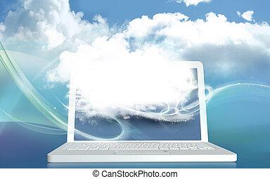 pojęcie, przestrzeń, laptop, cyfrowy, twórczość, ilustracja, czysty, chmura, 3d