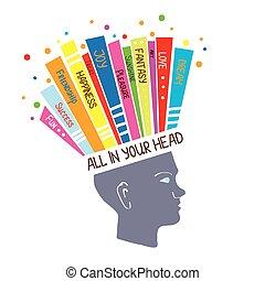 pojęcie, psychologia, myślenie, dodatni, ilustracja, emocje,...