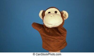 pojęcie, ręka, monkey., szczelnie-do góry, marionetka, ...