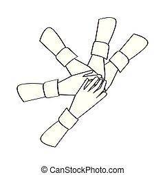 pojęcie, ręka., zjednoczony, teamwork, szkic