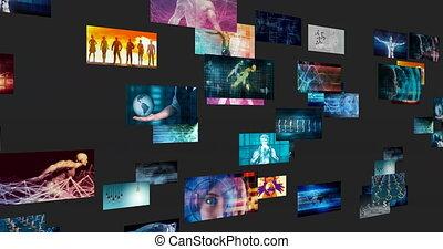 pojęcie, reklama, przemysł, handel, na cały świat, platforma