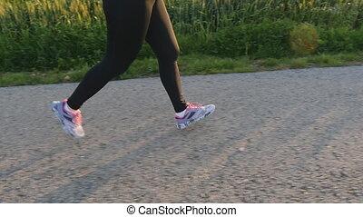 pojęcie, road., biegacz, młody, wyścigi, kobieta, stosowność, wschód słońca