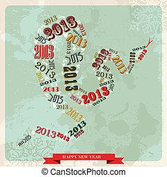 pojęcie, rocznik wina, wąż, rok, nowy, 2013, szczęśliwy