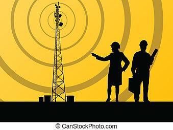 pojęcie, ruchomy, telekomunikacje, telefon, baza, radio, tło, stacja, wieża, albo, inżynierowie