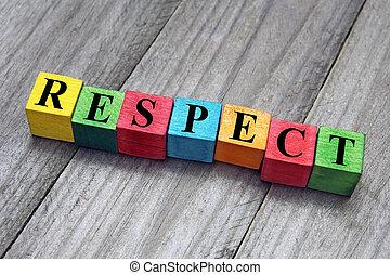pojęcie, słowo, barwny, drewniany, kostki, poszanowanie