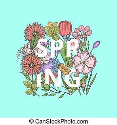 pojęcie, słowo, bukiet, wiosna, ilustracja, ręka, wektor, pociągnięty, kwiaty