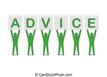 pojęcie, słowo, illustration., mężczyźni, advice., dzierżawa, 3d
