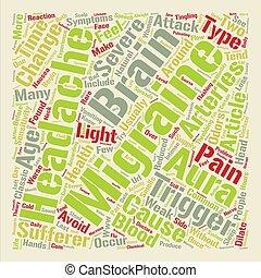 pojęcie, słowo, to, tekst, migrena, tło, chmura, ból głowy