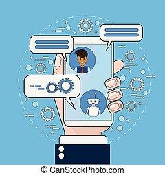 pojęcie, służba, handlowy, komunikowanie, technologia, ...