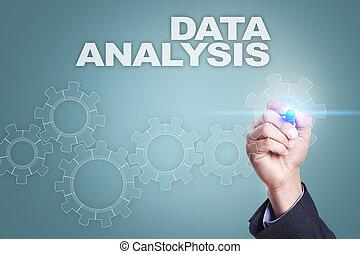 pojęcie, screen., analiza, faktyczny, biznesmen, dane, rysunek