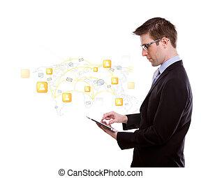 pojęcie, sieć, handlowy portret, ekran, młody, dotyk, towarzyski, urządzenie, używając, człowiek
