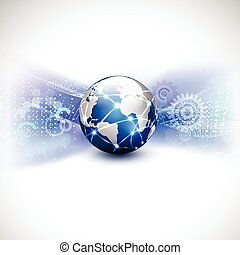 pojęcie, sieć, komunikacja, potok, ilustracja, ruch, tło, wektor, świat, technologia