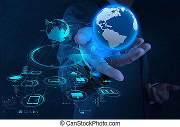 pojęcie, sieć, pracujący, pokaz, nowoczesny, biznesmen, ręka, komputer, nowy, ziemia, budowa, towarzyski