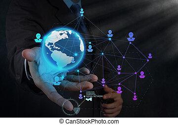 pojęcie, sieć, pracujący, pokaz, nowoczesny, komputer, biznesmen, nowy, budowa, towarzyski