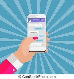 pojęcie, sieć, ruchomy, concept., towarzyski, apps, boxes., ilustracja, ręka, posłaniec, wndow, wektor, głoska., pogawędka, dzierżawa, chating, wiadomość, abstrakcyjny