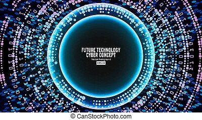 pojęcie, sieć, technologia, abstrakcyjny, cyber, tło., wektor, ilustracja, cyfrowy, design., cześć, przyszłość, szybkość, bezpieczeństwo, backdrop.