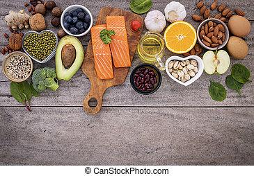 pojęcie, składniki, zdrowy, do góry, jadło, pokarmy, komplet, tło., drewniany, selection.