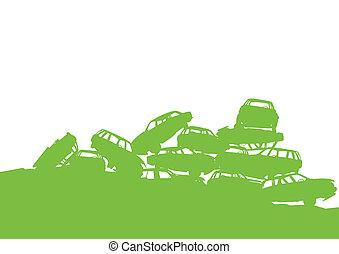 pojęcie, sortowanie, stos, afisz, tracić, junkyard, ekologia, zielone tło, kierownictwo, tracić