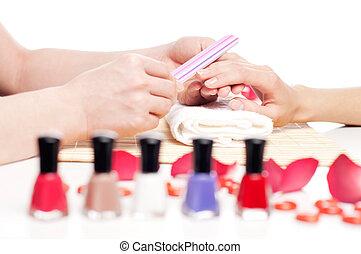 pojęcie, spa., manicure, siła robocza