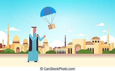 pojęcie, spadochron, uchwyt, arab, nabawi, meczet, długość, ...