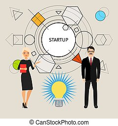 pojęcie, startup, ilustracja handlowa, ludzie