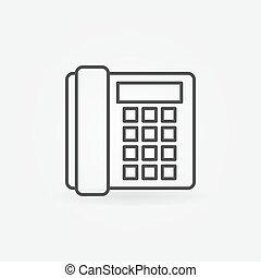pojęcie, stary, -, telefon znaczą, telefon, wektor, cienki, ikona, landline