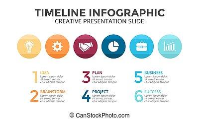 pojęcie, strony, slide., gotowy, design., processes., graph., prosty, 6, 16x9, kroki, prezentacja, koła, płaski, handlowy, timeline, opcje, diagram, infographic, wykres, wektor, czysty