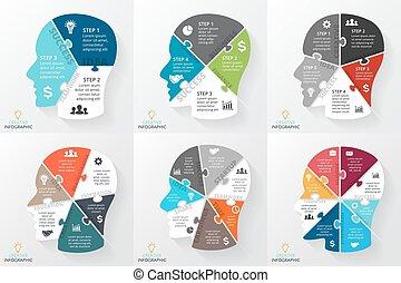 pojęcie, strony, zagadka, 6, idea, mózg, ludzki, processes., wykres, prezentacja, 4, szablon, 8, głowa, brainstorming., handlowy, opcje, 7, diagram, infographic., twarz, chart., 5, kroki, 3, albo