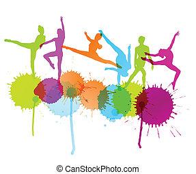 pojęcie, sylwetka, abstrakcyjny, tancerze, wektor, tło