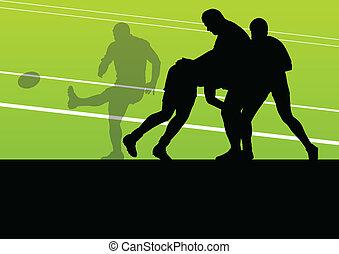 pojęcie, sylwetka, gracz, wektor, tło, rugby, człowiek