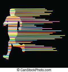 pojęcie, sylwetka, szablon, biegacz, afisz, pasy, wektor,...