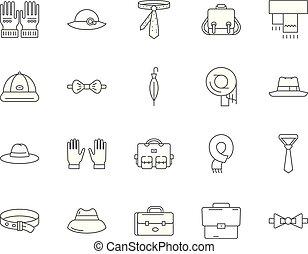 pojęcie, szkic, pasmanteria, komplet, ikony, ilustracja, ...