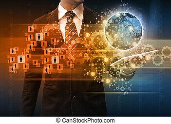 pojęcie, tabliczka, handlowy, dzierżawa, biznesmen, technologia