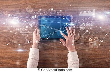 pojęcie, tabliczka, wykresy, ręka, wykresy, dzierżawa, połączony