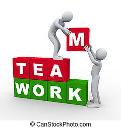 pojęcie, teamwork, 3d, ludzie