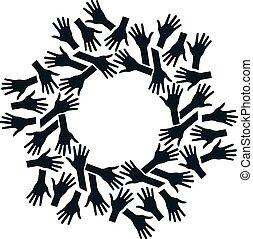 pojęcie, teamwork, circle., współposiadanie, siła robocza