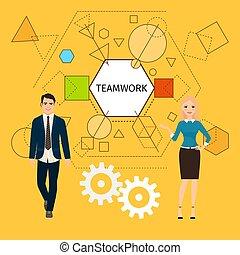 pojęcie, teamwork, handlowy zaludniają