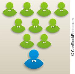 pojęcie, teamwork;, -, przewodnictwo, ilustracja, drużyna, wektor, współposiadanie, togetherness, silny