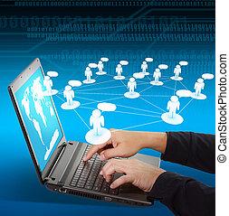 pojęcie, towarzyski, laptop, tworzenie sieci