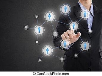 pojęcie, tworzenie sieci, sieć, ludzie, communication., system, ręka, groźny, towarzyski, biznesmen, technologia, ikona