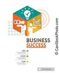 pojęcie, układ, handlowy, powodzenie, sześcienny, afisz, osłona, projektować, tło, broszura