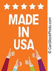 pojęcie, usa., tekst, stany, kciuki, informacja, zjednoczony, pisanie, tło., gwiazdy, pomarańcza, miejscowy, produkt, handlowy, wyprodukowany, gatunek, mężczyźni, piątka, siła robocza, aprobata, kobiety, robiony, słowo, do góry, amerykanka
