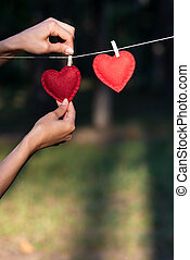 pojęcie, valentine, dwaj cerca, dzień, czerwony